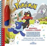 Justine Collin - Brindibou, Flamiaou et Otaquin pinceau magique - Peins avec de l'eau pour voir apparaître les couleurs ! Avec 1 pinceau.