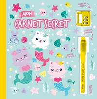 Kat Uno - Mon carnet secret Chat-sirènes - Avec un cadenas à code et un stylo à encre invisible et lumière magique.