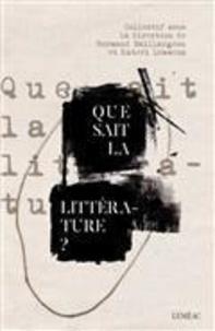 Kateri Lemmens et Normand Baillargeon - Que sait la littérature ?.