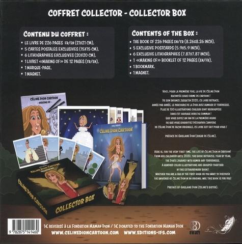 Coffret Céline Dion Cartoon. Collector Box. Avec 5 cartes postales exclusives, 1 lithographies exclusives, 1 livret making of, 1 marque-page, 1 magnet