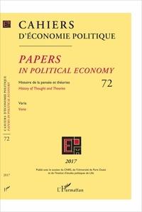 Patrick Mardellat - Cahiers d'économie politique N° 72/2017 : Varia.