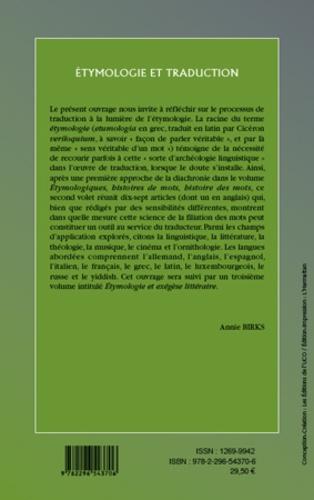 Cahiers du Cirhill N° 34 Etymologie et traduction