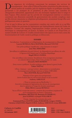 Cultures & conflits N° 114/115, été-auto Les mondes du renseignement entre légitimation et contestation