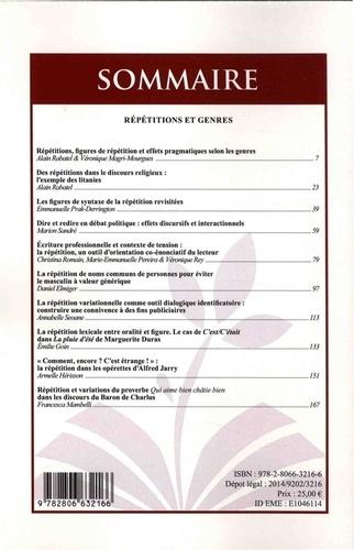 Le discours et la langue N° 7.2/2015 Répétitions et genres