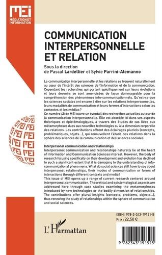 MEI N° 48 Communication interpersonnelle et relation