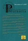 Collectif d'auteurs - Potentia - revue de philosophie du centre Ahmés N° 1 : Philosophie et rationalité.