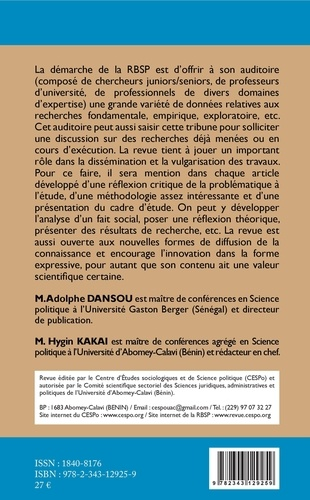 Revue béninoise de Science politique (RBSP) Volume 1 N° 1, 4e tr