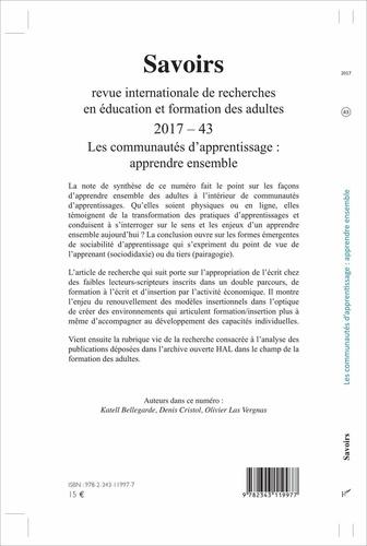 Savoirs N° 43/2017 Les communautés d'apprentissage : apprendre ensemble