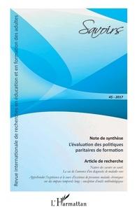Philippe Carré - Savoirs N°45/2017 : L'évaluation des politiques paritaires de formation.