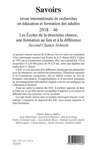 Savoirs N° 46 Les écoles de la deuxième chance, une formation au lien et à la différence. Second Chance Schools