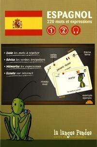 La Langue Pendue - Cartes de vocabulaire espagnol-français niveaux 1 & 2 - 220 mots et expressions.