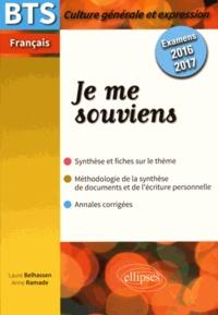 Feriasdhiver.fr Je me souviens - BTS français examens 2016-2017 Image
