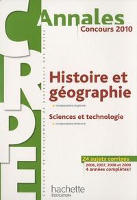 Laurent Bonnet et Jack Guichard - Histoire et géographie - Sciences et technologie CRPE - Concours 2010.