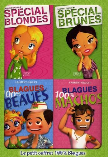 Laurent Gaulet - Le petit coffret 100% Blagues en 4 volumes : Spécial Blondes ; Spécial Brunes ; Blagues 100% Beaufs ; Blagues 100% Machos.