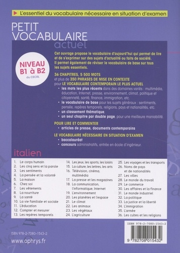 Petit vocabulaire actuel italien  édition revue et augmentée