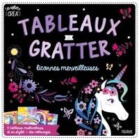 Léa Fabre - Tableaux à gratter licornes merveilleuses - 8 tableaux multicolores et un stylet + des coloriages.