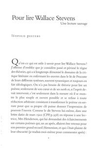 Léopold Peeters - Pour lire Wallace Stevens - Une lecture sauvage.