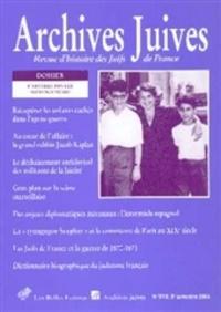Catherine Poujol et Katy Hazan - Archives juives N° 37, 2e semestre 2 : L'affaire Finaly - Pistes nouvelles.