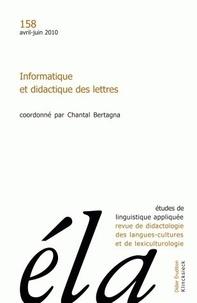 Robert Galisson - Etudes de Linguistique Appliquée N° 158, Avril-juin 2 : Informatique et didactique des lettres.