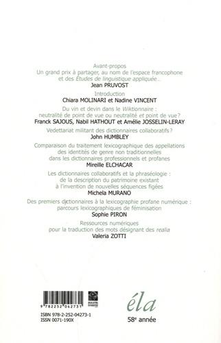 Etudes de Linguistique Appliquée N° 194, avril-juin 2 Dictionnaires et culture numérique dans l'espace francophone. 1, Portrait actuel de la lexicographie en ligne