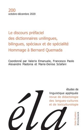 Valerio Emanuele et Francesco Paolo - Etudes de Linguistique Appliquée N° 4/2020 : Le discours préfaciel des dictionnaires unilingues, bilingues, spéciaux et de spécialité.