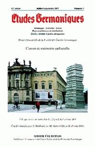 Jean-Marie Valentin - Etudes Germaniques N° 247/3, juillet-se : Canon et mémoire culturelle.