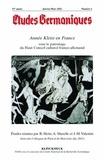 Raymond Heitz et Alain Muzelle - Etudes Germaniques N° 265, 4/2011 : Année Kleist en France - Colloques de Paris et de Metz (octobre et décembre 2011).
