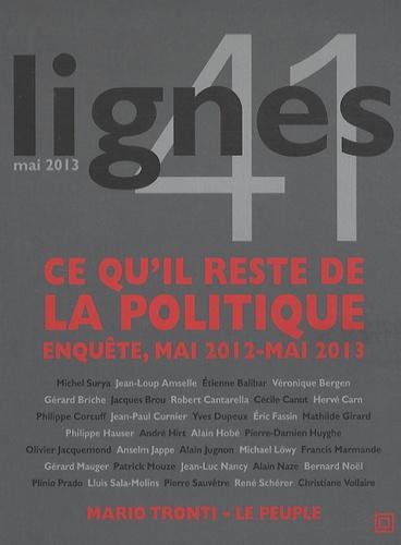 Michel Surya - Lignes N° 41, mai 2013 : Ce qu'il reste de la politique - Enquête, mai 2012-mai 2013.