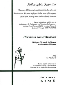 Christoph Hoffmann et Alexandre Métraux - Philosophia Scientiae Volume 7 N° 1/2003 : Hermann von Helmholtz.