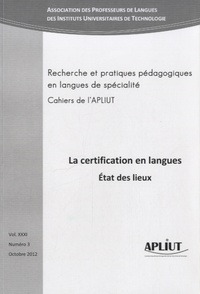 Mireille Hardy - Les Cahiers de l'APLIUT Volume 31 N° 3, Octo : La certification en langues, état des lieux.