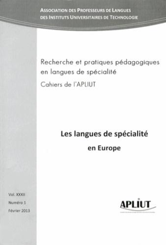 Mireille Hardy - Les Cahiers de l'APLIUT Volume 32 N° 1, Févr : Les langues de spécialité en Europe.