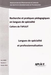 Marie-Annick Mattioli - Les Cahiers de l'APLIUT Volume 33 N° 1, Févr : Langues de spécialité et professionnalisation.