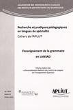 Martine Schuwer - Les Cahiers de l'APLIUT Volume 33 N° 3, Octo : L'enseignement de la grammaire en LANSAD.