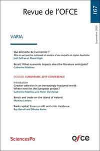Collectif - Revue de l'OFCE N° 167 - Varia.