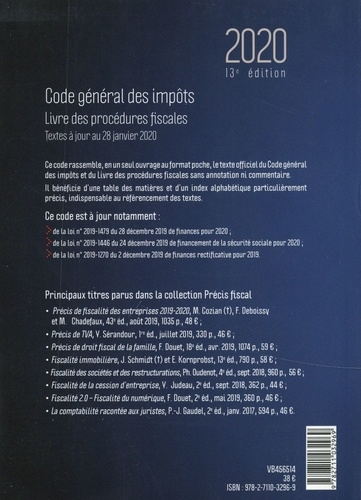 Code général des impôts. Livre des procédures fiscales  Edition 2020