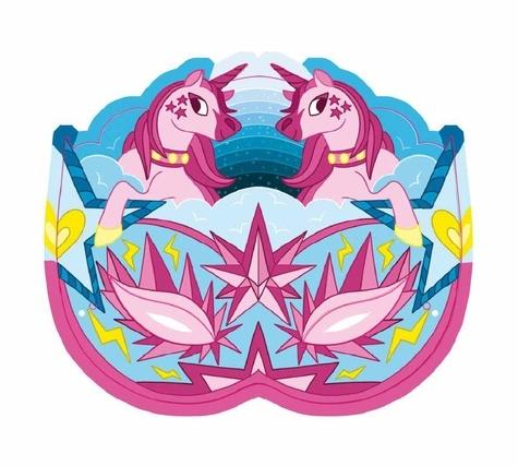 Masques à gratter licornes scintillantes. Avec un stylet en bois double embout