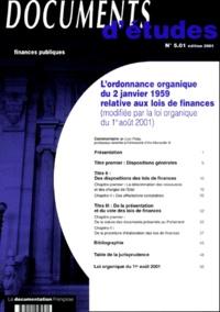 Loïc Philip - L'ordonnance organique du 2 janvier 1959 relative aux lois de finances.