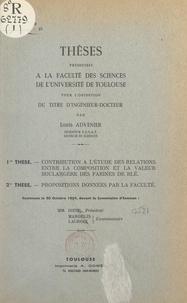 Louis Advenier - Contribution à l'étude des relations entre la composition et la valeur boulangère des farines de blé - Thèses présentées à la Faculté des sciences de l'Université de Toulouse pour l'obtention du titre d'ingénieur-docteur.