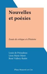 Louis de Préaudeau et Léon Marie Mirot - Nouvelles et poésies - Essais de critique et d'histoire.