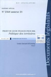 Louis Giscard d'Estaing - Politique des territoires - Projet de Loi de Finances pour 2006.