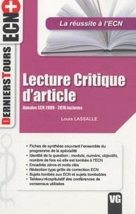 Louis Lassalle - Lecture critique d'article - Annales ecn 2009/2010 incluses.