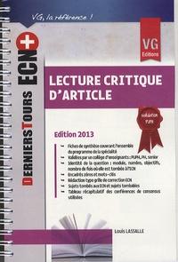 Louis Lassalle - Lecture critique d'article.