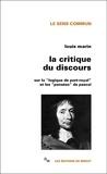"""Louis Marin - La critique du discours - Sur la """"logique de Port-Royal"""" et les """"pensées"""" de Pascal."""