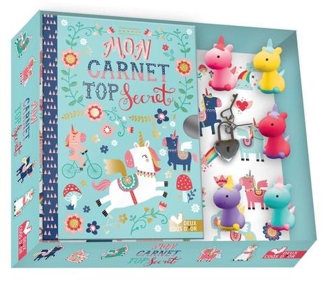 Mon carnet top secret Licornes. Avec 1 carnet, 5 mini gommes, 1 cadenas, 1 planche de stickers, 2 clés