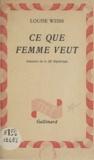 Louise Weiss - Ce que femme veut - Souvenirs de la IIIe République.