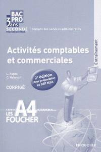 Luc Fages et Christian Habouzit - Activités comptables et commerciales 2e Bac Pro MSA - Corrigé.