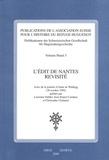 Lucienne Hubler et Jean-Daniel Candaux - L'Edit de Nantes revisité - Actes de la journée d'étude de Waldegg (30 octobre 1998).