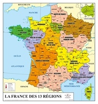 Philippe Rossignol - La France des 13 régions / La France physique - Carte murale plastifiée physique et administrative.