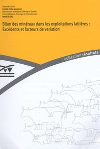 M Cabaret et M Grasset - Bilan des minéraux dans les exploitations laitières : Excédents et facteurs d'exploitation.