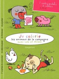 Mademoiselle Aligato - Je colorie les animaux de la campagne avec Léo et Mikki - 7 cartes postales à colorier.